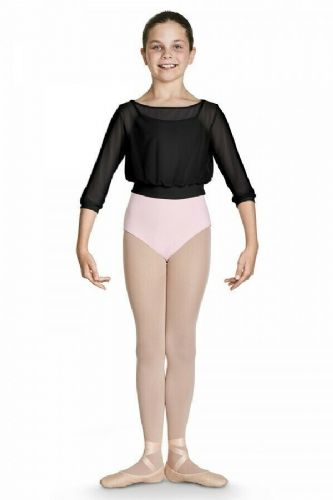 Bloch Girls 3/4 Sleeve Bardot Neckline Semi Sheer Mesh Dance Top Black CZ8106